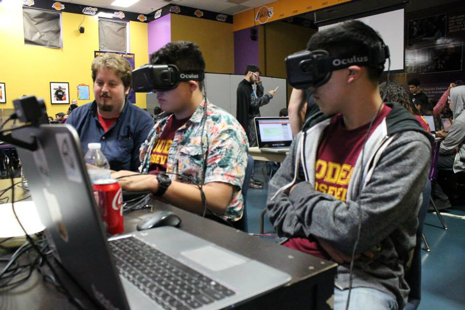 Students exploring virtual reality with Oculus Rift.
